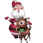 Awk Santa & Reindeer 94cm
