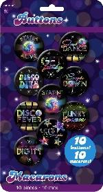 Fiebre Disco Años 70 Insignias de Botón