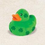 Pato de Hule Verde con tréboles San Patricio
