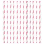 Pajitas de papel de rayas rosa claro