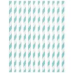Pajitas de papel con rayas azul claro