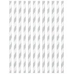 Pajitas de papel con rayas plateadas