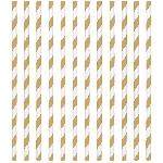 Pajitas de papel con rayas doradas