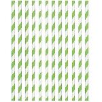 Pajitas de papel con rayas verde lima