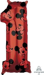 Forma Numero 1 Rojo Mickey 65cm