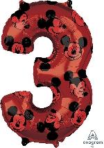 Forma Numero 3 Rojo Mickey 65cm