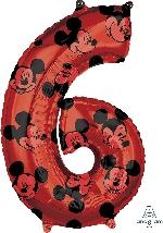 Forma Numero 6 Rojo Mickey 65cm