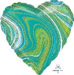 18/45cm Corazon Marblez Azul-Verde