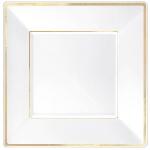 Plato Premium White Square Plastic Plates Gold Border 25cm