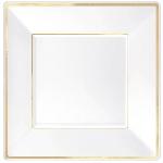 Plato Premium White Plastic Plates Gold Border 18cm