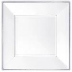 Platos Premium White Plastic Plates Silver Border 18cm