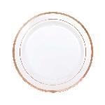 Platos de plástico pequeños Premium - blancos con borde rosa dorado 19cm