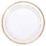 Platos de plástico Premium - blancos con borde rosa dorado 26cm