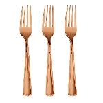 Tenedores de plástico de lujo rosa dorado