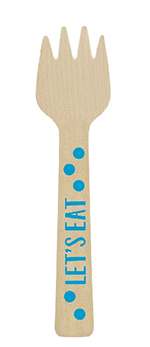 Mini tenedor de madera azul-10,6cm