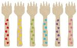 Mini tenedor de madera colores del arcoiris-10,6cm