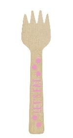Mini tenedor de madera rosa-10,6cm