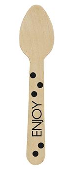 Mini cucharas de madera en negro-10,6cm