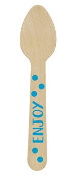 Mini cuchara de madera azul-10,6cm
