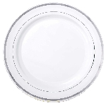 Platos Silver Trim Premium Plastic Plates 30cm