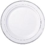 Platos de Plástico Premium - 26cm blancos con borde plateado