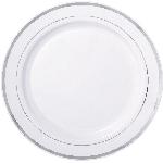 Platos de plástico pequeños Premium - blancos con borde plateado 19cm