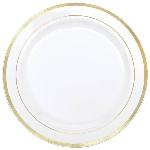 Platos de plástico Premium- Blanco con borde dorado 26cm