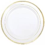 Platos de Plástico Premium - Blancos con borde dorado 19cm