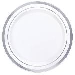 Platos Premium White Plastic Plates Silver Trim 16cm