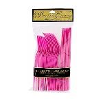Cubiertos de plástico rosa fucsia-Pack variado para fiesta