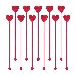 Agitadores de plástico para cóctel con corazones - Decoración San Valentín