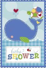 INVITACIONES: AHOY BABY BLUE con sticker (6x8 (En Stock)
