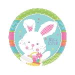 Platos de Pascua Conejito Hippy Hop - Platos de papel 17cm
