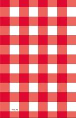 Mantel Plástico Diseño Gingham Rojo para Mesa de Picnic - 1,37m x 2,6m