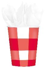 Vasos Diseño Gingham Rojo Fiesta Picnic - Vasos de Papel para Fiesta 266ml