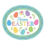 Platos Ovalados Pascua Encantadora - Platos de Papel para Fiesta 30cm