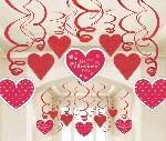 Decoraciones Espirales Colgantes San Valentín - 60cm