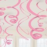 Remolinos Colgantes Decorativos Rosa - 55cm