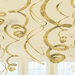 Decoraciones Colgantes Espirales Dorados - 55cm