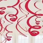 Decorados espirales colgantes en rojo-55cm
