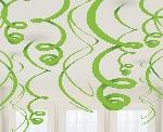 Decorados espirales colgantes en verde lima-55cm