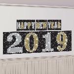 Kit Decoración Fondo para Photocall Año Nuevo 2019 - Negro, plata y oro