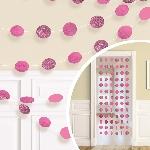 Cuerdas Colgantes Decorativos Purpurina Rosa Brillante - 2,1m
