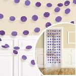 Decoraciones de hilos colgantes púrpura con purpurina - 2.1m