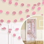 Adorno con cuerda para colgar rosa con brillo-2,1m