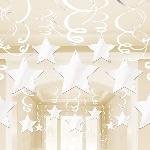 Decoraciones Colgantes Espirales Estrellas Blancas - 60cm