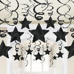 Remolinos Colgantes Decorativos con Estrellas Negras - 60cm - Artìculos de Fiesta