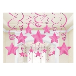 Espirales Decorativos Estrellas Rosa brillante - 60cm