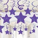 Remolinos Colgantes Decorativos Púrpura - 60cm