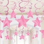 Decoraciones Colgantes Nuevas Estrellas Rosas - 60cm